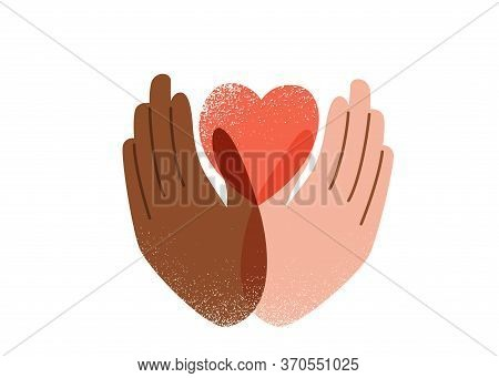 Say No To Stop Racism, Love And Peace Concept. Black Lives Matter Vector Background. Human Black And