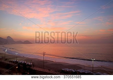 Stunning Panoramic Aerial View Of Copacabana Beach At Sunset, Rio De Janeiro, Brazil, South America