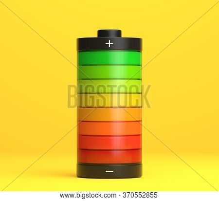 Full Charge Battery. Battery Charging Status Indicator On Bright Yellow Background In Pastel Colors.