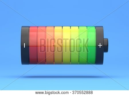Full Charge Battery. Battery Charging Status Indicator On Bright Blue Background In Pastel Colors. C