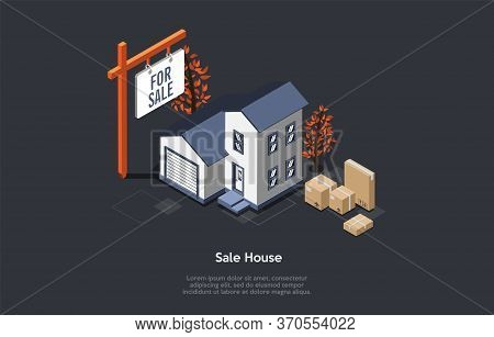 Real Estate Sale And Buying New Home Concept. Advertisement Of New Mansion With Garage For Sale With