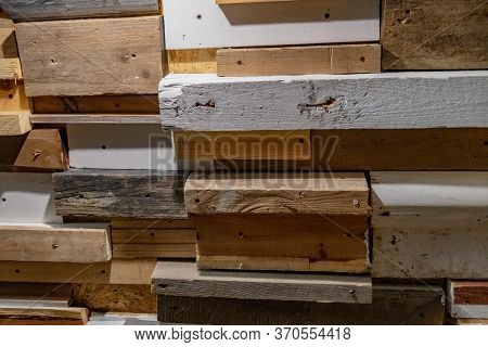 Three-dimensional Abstract Background Made From Reclaimed Wood Planks With Rough Scratched And Damag