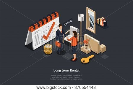 Concept Of Long Term Real Estate Rental, Signing Agreement. Realtor And Tenant Man And Woman Have Ma