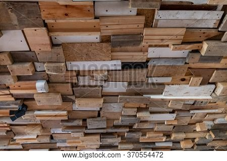 Abstract Shaped Grunge Background Made From Reclaimed Wooden Planks And Boards With Rough Scratched