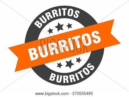 Burritos Sign. Burritos Orange-black Round Ribbon Sticker
