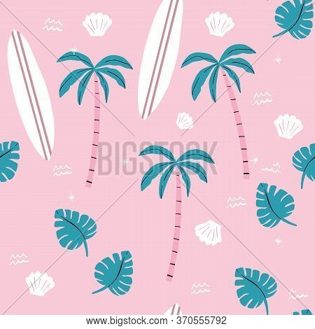 Seamless Pink And Green Palm Trees Pattern. Repeating Vector Beach And Surfing Pattern With Surf Boa