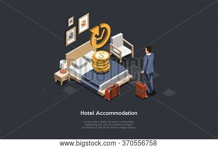 Hotel Accommodation Concept. Businessman Check In Or Check Out In A Hotel. Man Has Booked An Apartme
