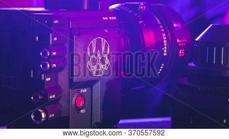 Kyiv, Ukraine - 04.17.2020: Studio Shoot Of Professional 5k Video Camera Red Dsmc2 With Lens, Close-