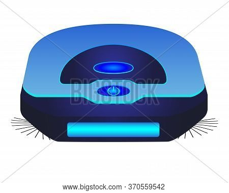 Blue Robot Vacuum Cleaner - Vector Full Color Picture. Robotic, Standalone Cordless Vacuum Cleaner.