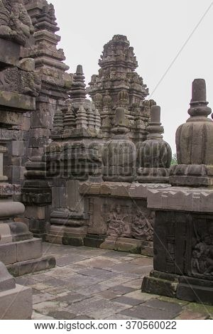 Details Of Stone Sculptures At Famous Prambanan Hindu Temple, Yogyakarta, Java, Indonesia. Candi Pra