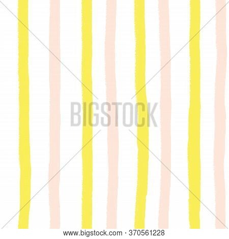Vertical Pink And Yellow Hand Drawn Painterly Stripes On White Seamless Background. Repeating Stripe