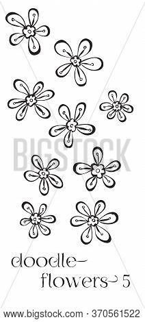 Doodle Flowers Hand Drawn Vector Image Set, Simple Line Drawing Illustration Variations