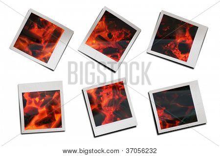 Instantaneous photos of firewood burning