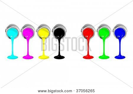 Isolated CMYK and RGB paint cans on white background