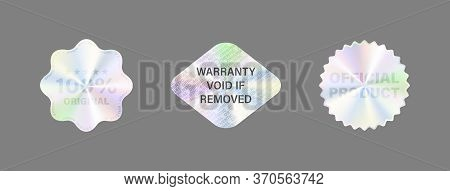 Round Hologram Label Set Isolated On White. Geometric Holographic Label For Award Design, Product Gu