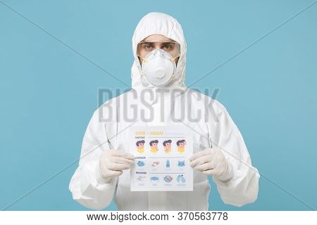 Man In White Protective Suit Respirator Mask Hold Card With Symptom Contagion Prevention Isolated On