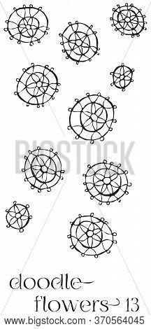 Doodle Flowers 13 Hand Drawn Vector Image Set, Simple Line Drawing Illustration Variations