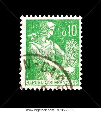 France - Circa 1960 : Cancelled Postage Stamp Printed By France, That Shows Woman Holding Wheat, Cir