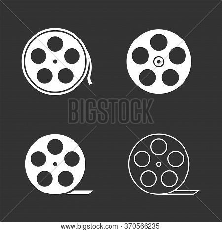 Film Reels. Movie Reel Icon Set, Cinematography Symbol Vector