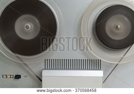 Old Vintage Reel-to-reel Player. Tape Recorder With Spools. Bobbin Tape Recorder.