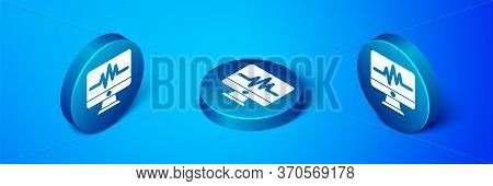 Isometric Computer Monitor With Cardiogram Icon Isolated On Blue Background. Monitoring Icon. Ecg Mo