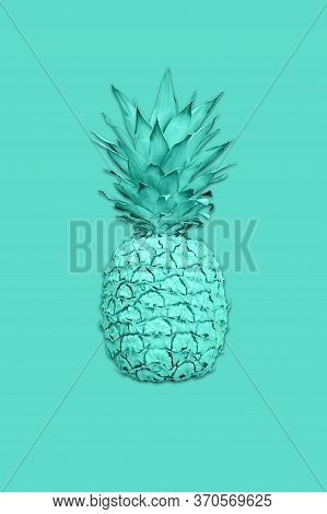Collage With Ananas In Vibrant Bold Gradient Holographic Colors In A Creative Concept Art Style. Cre