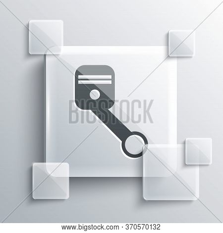 Grey Engine Piston Icon Isolated On Grey Background. Car Engine Piston Sign. Square Glass Panels. Ve