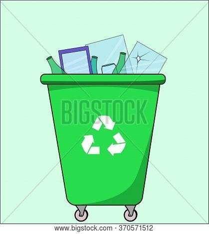 Trash Dumpster With Glass, For Recycling. Segregate Waste, Sorting Garbage, Waste Management. Vector