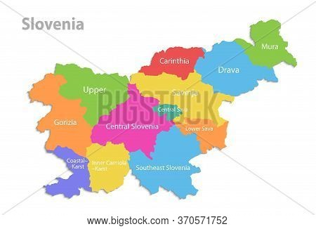 Slovenia Map, Administrative Division, Separate Individual Regions Names, Color Map Isolated On Whit