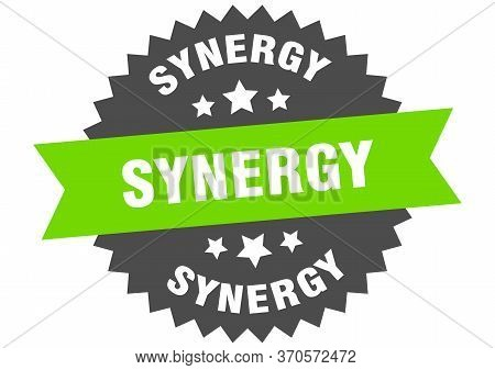 Synergy Sign. Synergy Circular Band Label. Round Synergy Sticker