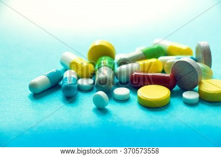 Different Medicines, Many Different Types And Colors Of Tablets And Capsules, The Concept Of A Pharm