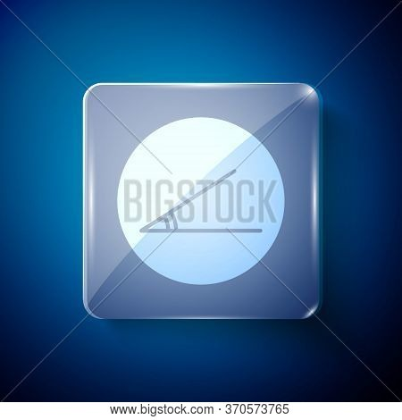 White Acute Angle Of 45 Degrees Icon Isolated On Blue Background. Square Glass Panels. Vector Illust
