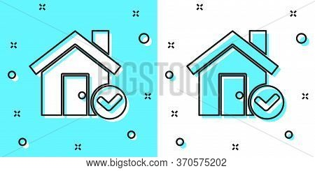 Black Line House With Check Mark Icon Isolated On Green And White Background. Real Estate Agency Or