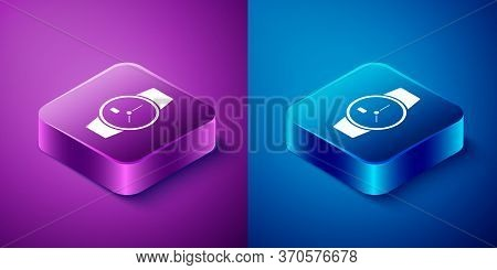 Isometric Wrist Watch Icon Isolated On Blue And Purple Background. Wristwatch Icon. Square Button. V