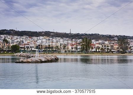 Rethymno, The Crete Island, Greece - May 30, 2019: View At Rethymno City From Harbour, The Crete Isl