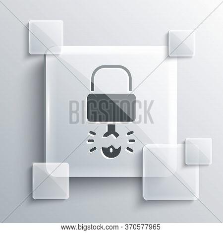 Grey Key Broke Inside Of Padlock Icon Isolated On Grey Background. Padlock Sign. Security, Safety, P