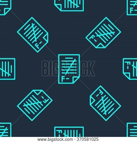 Green Line Exam Paper With Incorrect Answers Survey Icon Isolated Seamless Pattern On Blue Backgroun