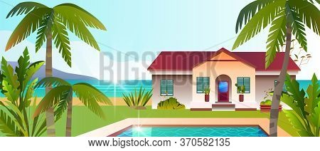 Tropical View With Luxury Villa, Pool, Backyard, Palms, Beach,tropical Plants. Summer Exotic Banner