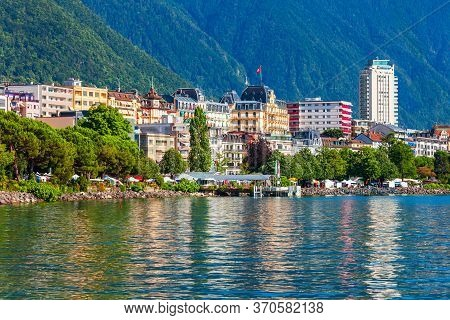 Montreux Harbor With Yachts And Boats. Montreux Is A Town On The Lake Geneva At The Foot Of The Alps