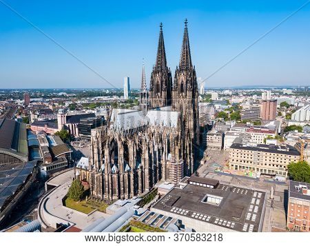 Cologne Cathedral Aerial Panoramic View In Cologne, Germany