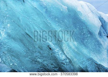 Light Blue Large Iceberg Diamond Beach Jokulsarlon Glacier Lagoon Vatnajokull National Park Iceland.