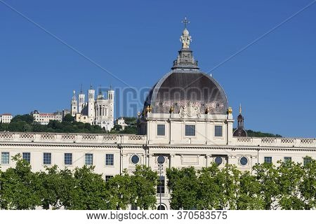 View Of Basilica Of Notre Dame De Fourviere And Hotel Dieu, Lyon, France