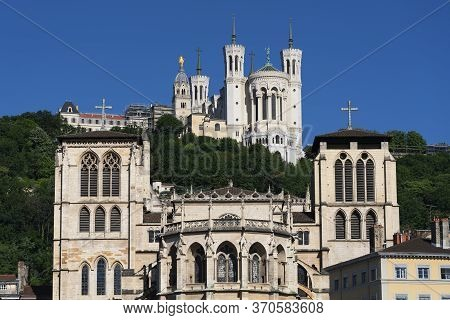View Of Basilica Of Notre Dame De Fourviere And Saint-jean Cathedral, Lyon, France