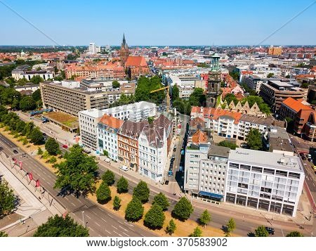 Hannover City Skyline Aerial Panoramic View In Germany