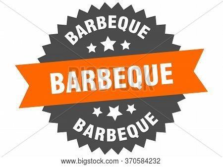 Barbeque Sign. Barbeque Orange-black Circular Band Label