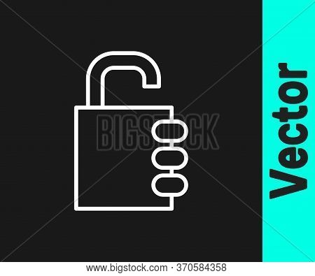 White Line Safe Combination Lock Icon Isolated On Black Background. Combination Padlock. Security, S