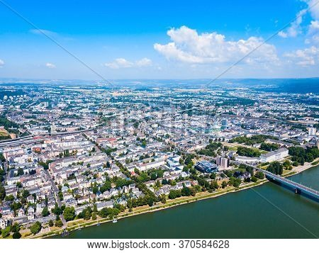 Koblenz Aerial Panoramic View. Koblenz Is A City On The Rhine Where It Is Joined By Moselle River.