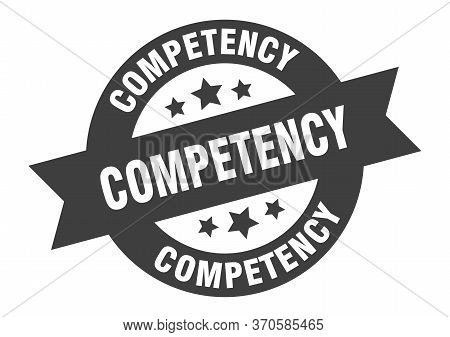 Competency Sign. Competency Black Round Ribbon Sticker