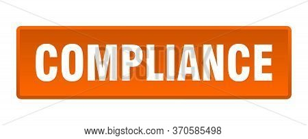Compliance Button. Compliance Square Orange Push Button