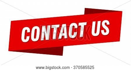 Contact Us Banner Template. Contact Us Ribbon Label Sign